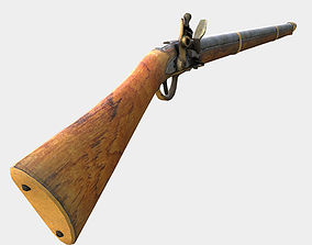low Poly Game Ready PRB Flint Lock Rifle 3D model