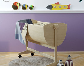 wooden bed cradle 3D model