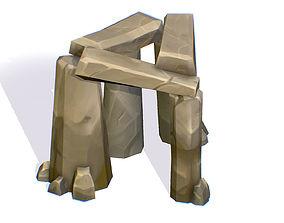 3D asset Handpaint Cartoon Stone Memorial 1