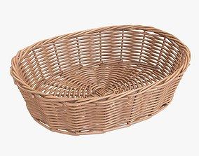Wicker basket oval light brown 3D