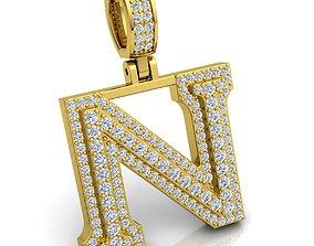Alphabet Latter N Diamond Pendent 3d Model