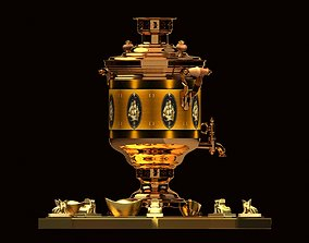 Chinese gold ingot with bronze wine container 3D