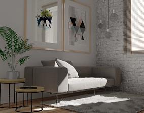 minimalist 3D model low-poly living room
