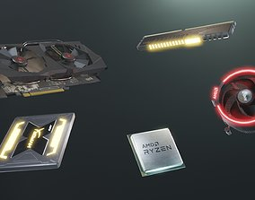 3D model PC Hardware Kit - PBR