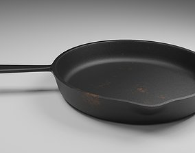cast iron skillet 3D model utensil