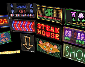 3D asset Neon Sign Pack City Environment Street Element 3