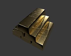 Precious Metal Bullion Set 3D asset