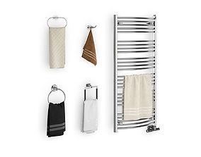 Set of towels for bathroom set 02 3D