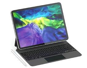 3D Apple iPad Pro 11-inch and Magic Keyboard 2020