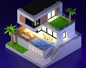 3D asset Summer House Isometric Diorama