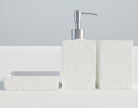 3D Bathroom Set White Concrete