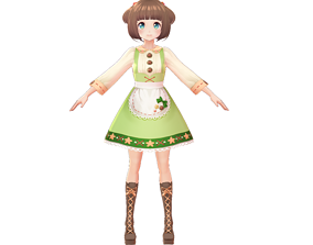rigged ASIAN GIRL ALICE MAID 3D MODEL RIGGED T POSE SHAPE