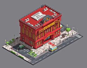 Modern cinema building with an exterior 3D asset