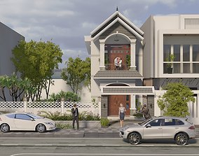 Exterior House design 3d model animated car