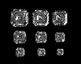 Diamond Asscher Different Sizes 3D model