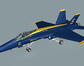 3D asset F18C Hornet Blue Angels aircraft