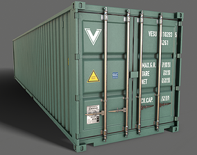 PBR 40 ft Shipping Cargo Container - Green Light 3D asset