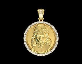 3D print model Yellow Gold Jesus Medallion Diamond Pendant