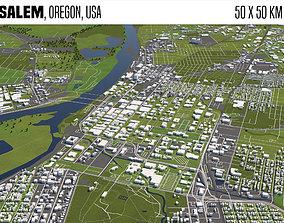 3D Salem Oregon USA 50x50km