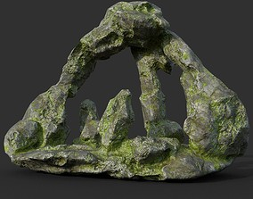 3D model Low poly Mossy Curve Dome Cave 03