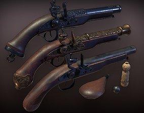 3D asset Lowpoly PBR Flintlock Pistol Pack