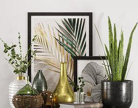 3D leaf gold and green decorative set