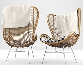 3D Rattan Wing Chair