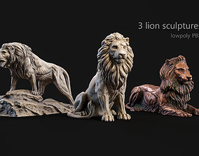 3 lions PBR lowpoly models collection 3D architectural