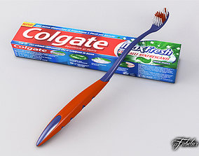 3D model Toothbrush and Toothpaste