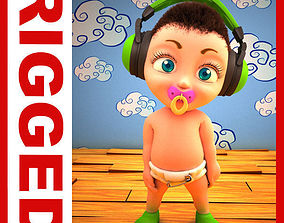 3D model Hip Hop baby Cartoon Rigged