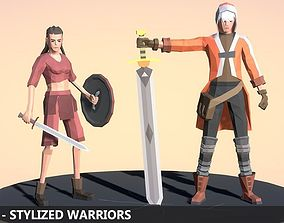 3D asset LOW POLY - Stylized Warriors
