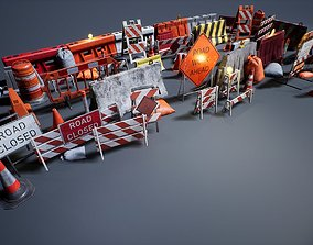 3D model game-ready Barriers and Barricades