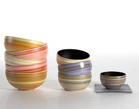 white Stacks of Coloured Bowls 3D