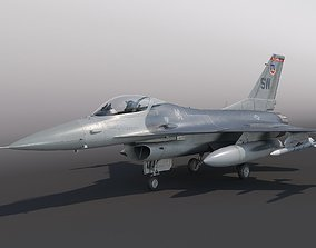 General Dynamics F-16 Fighting Falcon rigged 3D model