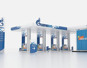Gasprom petrol Station 3D model