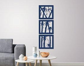 Bamboo wall decoration set of 3 frames 3D print model