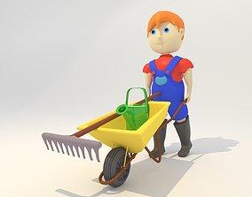 Cartoon Farmer with Wheelbarrow 3D model