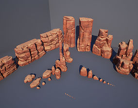 Cliff rock stone set 3D model
