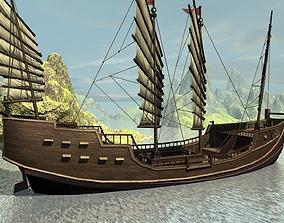 Ancient Chinese sailing warships Fukuyama Junk 3D asset