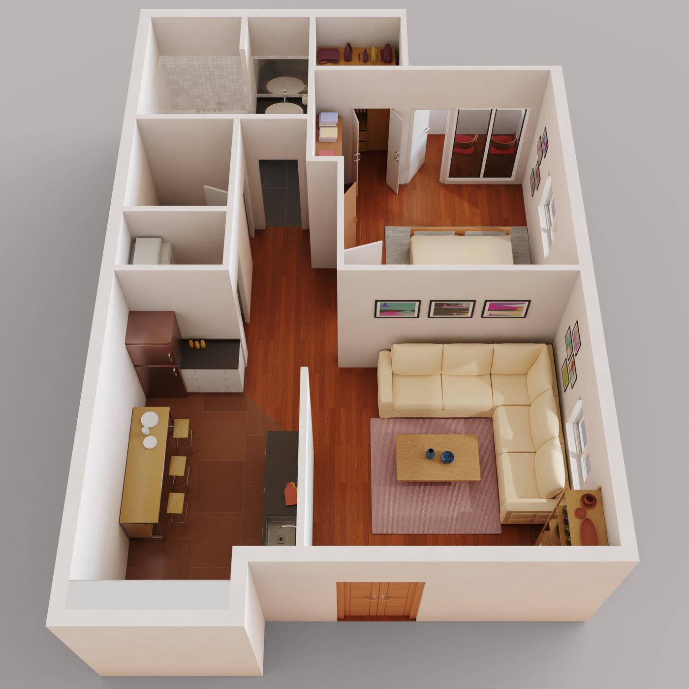 One Bedroom Apartment Floor Plan Cgtrader