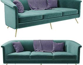 Vicente teal velvet sofa 3D