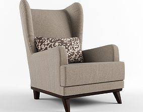 Armchair with headrest and pillow 3D