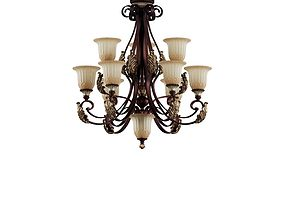 3D model 6-Light Verona Bronze Chandelier with Aged Gold 2