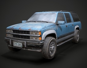 3D asset Old Suv car low poly