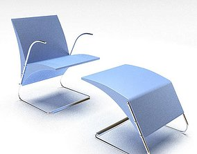 3D model Blue Cushioned Chair With Footrest