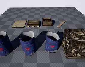 3D asset low-poly Barrels - Crates - Woods - Props