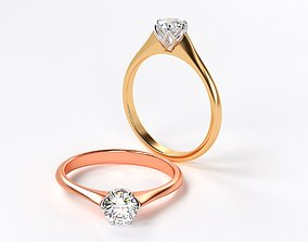 3D printable model two tones gold engagement ring with 1 2