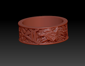 3D print model Slavic ring Veles with a wolf and a pattern
