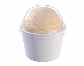 3D model Ice cream ball in plastic package box for mockup