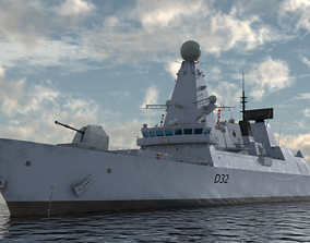 3D model HMS Daring - Royal Navy Type 45 Air Defence